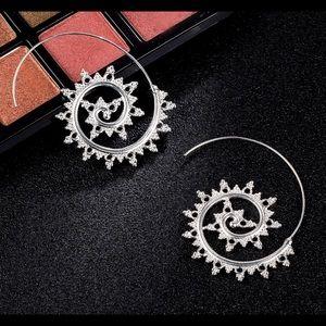 Jewelry - Silver Tone Embellished Swirl Earrings